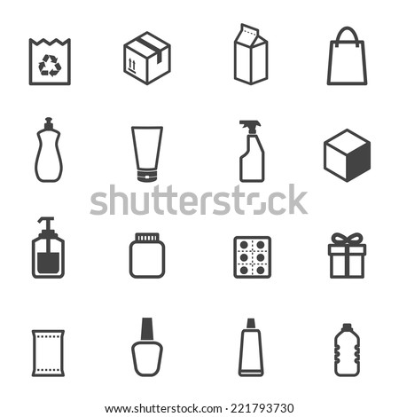 packaging icons, mono vector symbols - stock vector