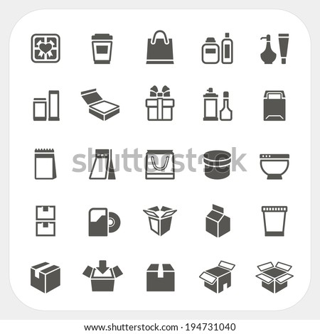 Packaging icons set - stock vector