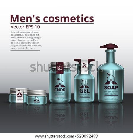 Packaging Of Cosmetics For Men Beauty Body Care Vector Illustration Template Design