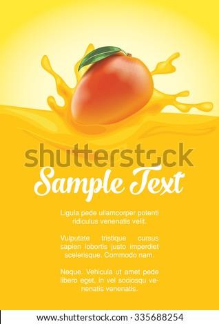 packaging of splash juice with mango - stock vector