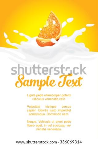 packaging of splash milk or yogurt with orange - stock vector