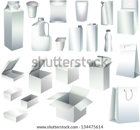 packaging paper boxes and bottles templates photo-realistic vector set - stock vector