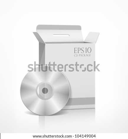 Packaging software white box template and CD disk, vector illustration