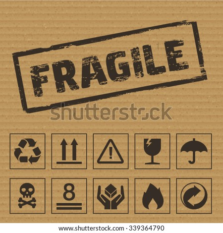 Packaging Symbols on Cardboard. Vector icons like: fragile, this side up, keep dry, recyclable etc - stock vector