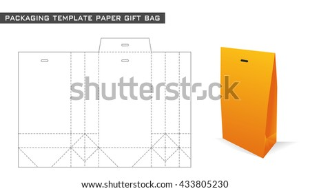 packaging template paper gift bag in orange color