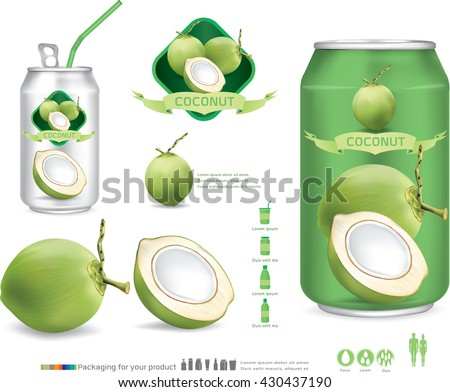 Packaging with green coconut water drink.vector