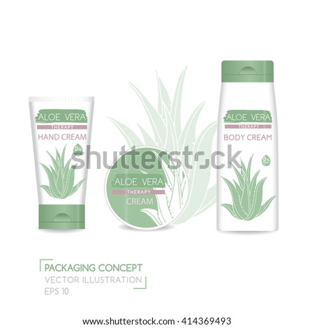 Packing concept with aloe vera. Three realistic cosmetic tube and jar with ready design. Vector Illustration
