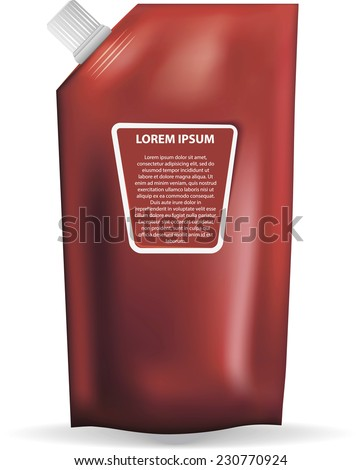 packing for ketchup or other liquid products - stock vector