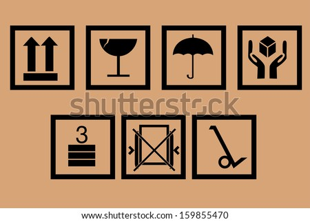 Packing symbols  - stock vector