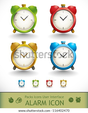 Packs icons user interface for mobile devices and web applications. Alarm icon - stock vector