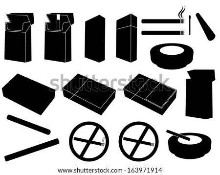 Packs of cigarettes and cigarettes set illustrated on white - stock vector