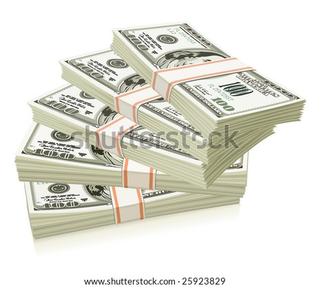 Packs of dollars money isolated - vector illustration