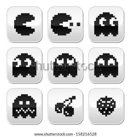 Pacman, ghosts, 8bit retro game buttons set - stock vector