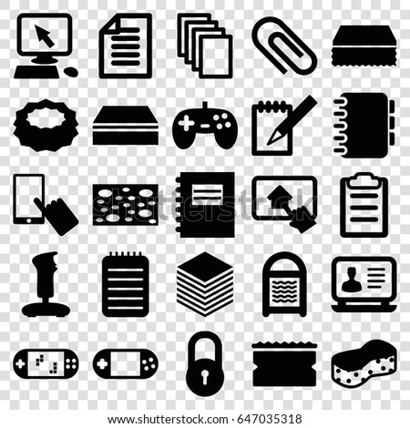 Pad icons set. set of 25 pad filled icons such as lock, pointer on display, finger on display, sponge, laptop, paper, portable console, notebook, clipboard, home on tablet