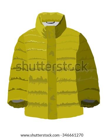 padded jacket green - stock vector