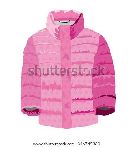 padded jacket pink - stock vector