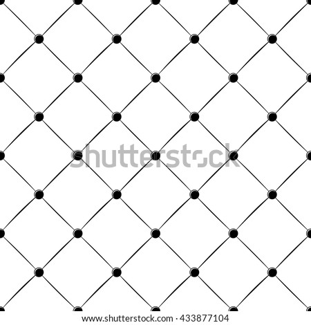 padded upholstery buttoned rhomb seamless pattern in black and white