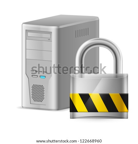 Padlock and Gray Case of Computer. Illustration of designer on a white background - stock vector