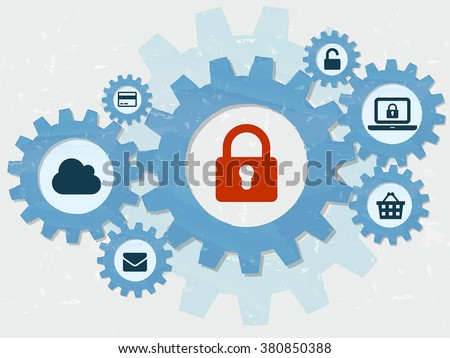 padlock and internet signs in grunge flat design gear wheels infographic, technical security concept symbols, vector - stock vector