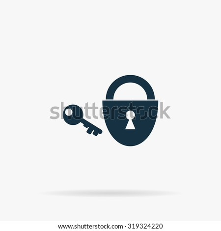 Padlock and key. Flat vector web icon or sign on grey background with shadow. Collection modern trend concept design style illustration symbol - stock vector