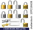 Padlock and Key in Brass and Steel - All items in the vector file are on individual layers - stock photo