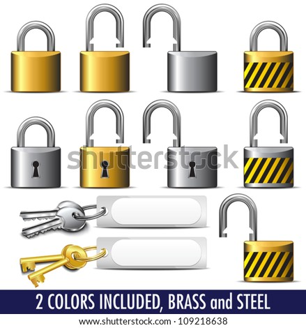 Padlock and Key in Brass and Steel - All items in the vector file are on individual layers - stock vector