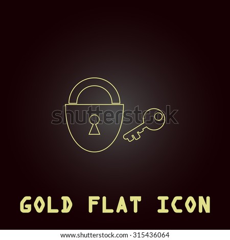 Padlock and key. Outline gold flat pictogram on dark background with simple text.Vector Illustration trend icon - stock vector