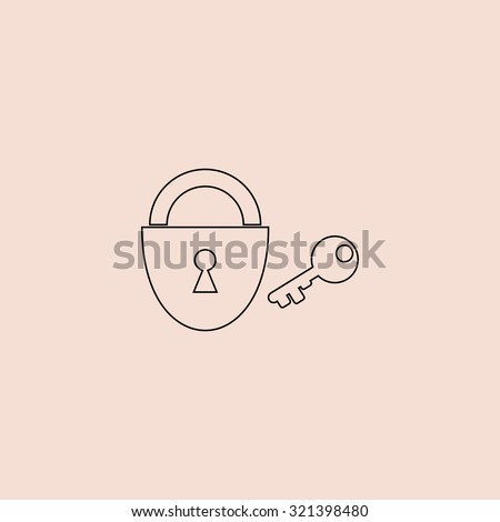 Padlock and key. Outline vector icon. Simple flat pictogram on pink background - stock vector