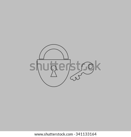 Padlock and key. Outlne vector icon on grey background - stock vector