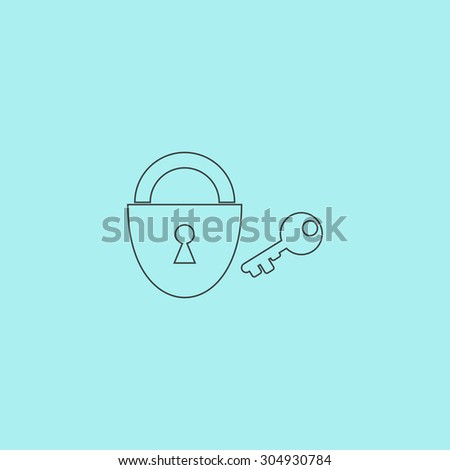 Padlock and key. Simple outline flat vector icon isolated on blue background - stock vector