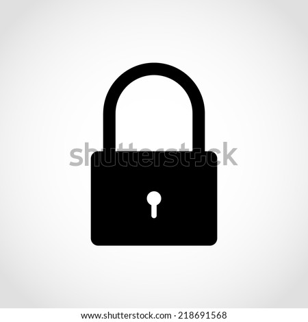 Padlock Icon Isolated on White Background - stock vector