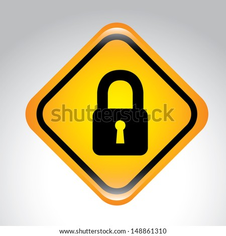 padlock signal over gray background vector illustration  - stock vector