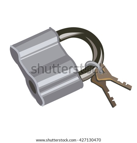 Padlock with keys. Vector illustration. - stock vector