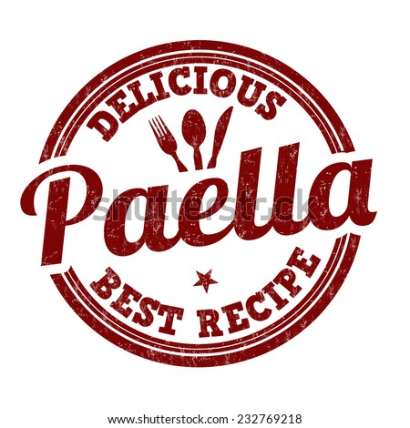 Paella grunge rubber stamp on white background, vector illustration - stock vector