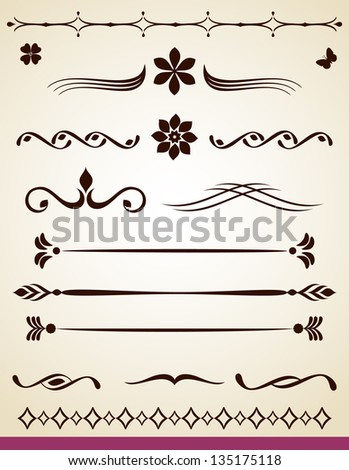 Page and paragraph text dividers - stock vector