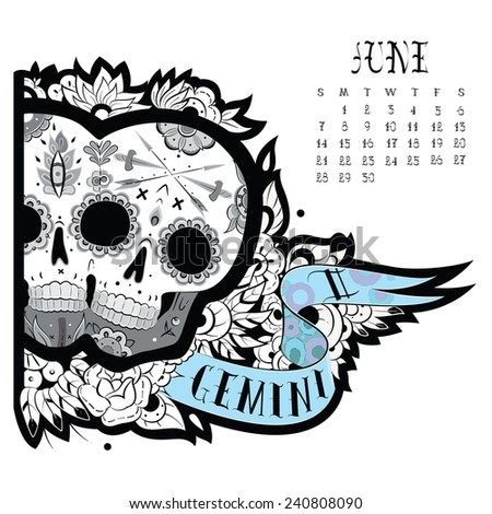 Page astrological calendar. Gemini tattoo. Vector illustration