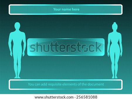 Page 2(cover) of 8. Mock-up for info graphic, presentation, books, documents  for medicine, biology, technology, anatomy,  etc. - stock vector