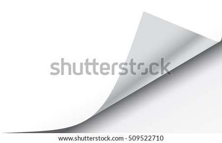 Page curl with shadow on a blank sheet of paper, design element for advertising and promotional message EPS 10 vector illustration.