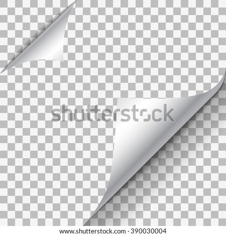 Page curl with shadow on blank sheet of paper. White paper sticker. Element for advertising and promotional message isolated on transparent background. Vector illustration for your design and business - stock vector