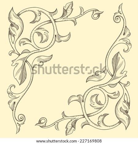 Page decoration. Decorative floral elements, corners, borders, frame, crown. - stock vector