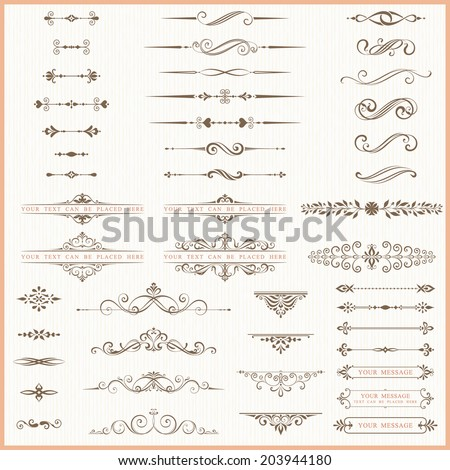 Page dividers and ornate elements. - stock vector