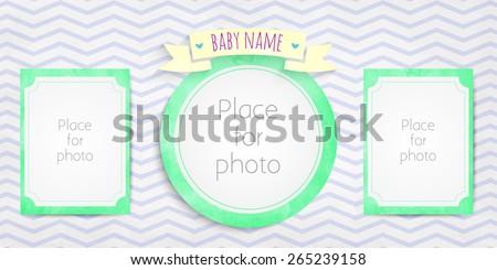 Page for baby photo album. 10 x 20 inches per spread. 10 x10 inches square cover - stock vector
