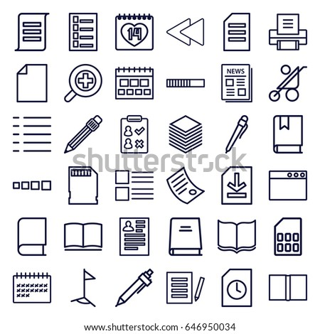 page icons set set of 36 page outline icons such as baby stroller document
