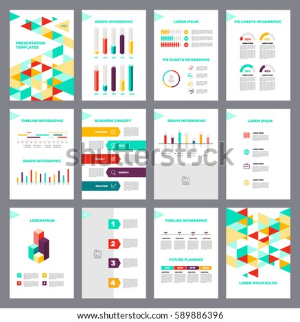 page layout template presentation brochure annual stock vector