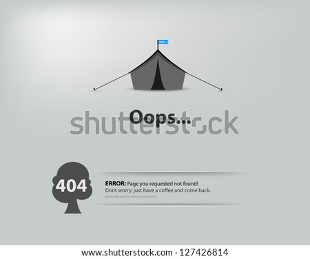 Page not found, 404 error. - stock vector