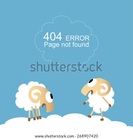 Page not found, 404 error with funny sheep - stock vector