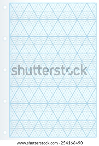 Page of Uncommon Graph Paper. Graph paper with triangles. Smartly grouped. - stock vector