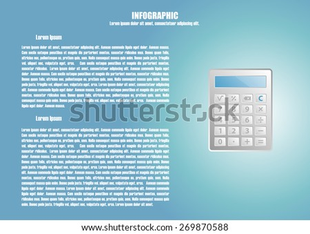 Page 8 of 8 with abstract calculator  for info graphic, presentation, books, documents, web design etc - stock vector