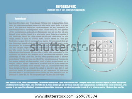 Page 7 of 8 with abstract calculator  for info graphic, presentation, books, documents, web design etc - stock vector