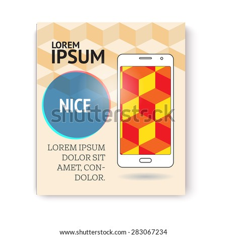 Page or banner design with mobile phone. Advertisement. - stock vector